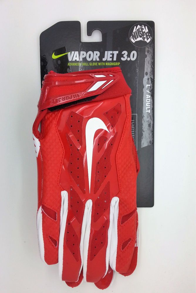 low cost 651d8 fdc71 NIKE VAPOR JET 3.0 RED FOOTBALL GLOVES PAIR (ADULT LARGE) -- NEW  Nike