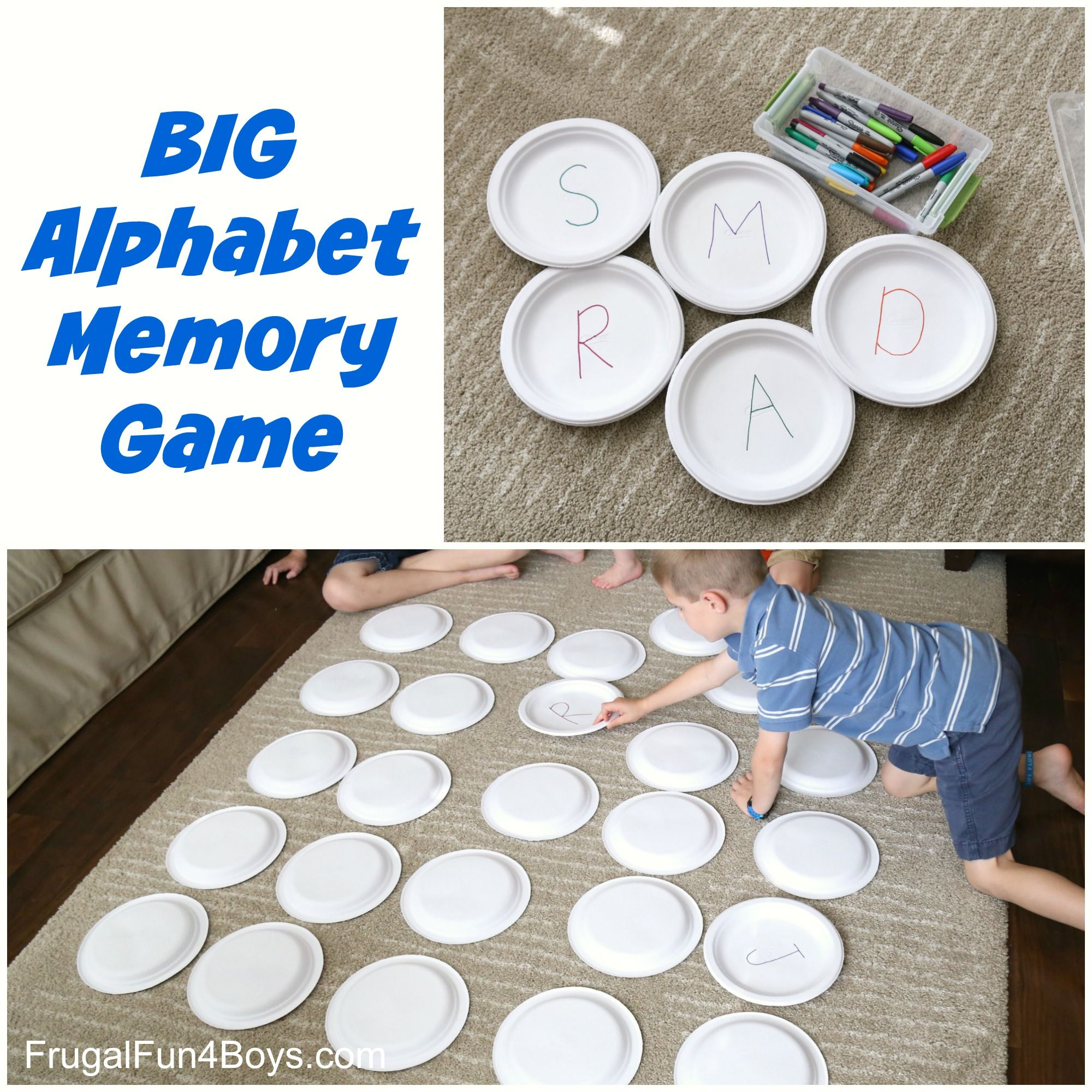 Paper Plate BIG Alphabet Memory Game Learning games for