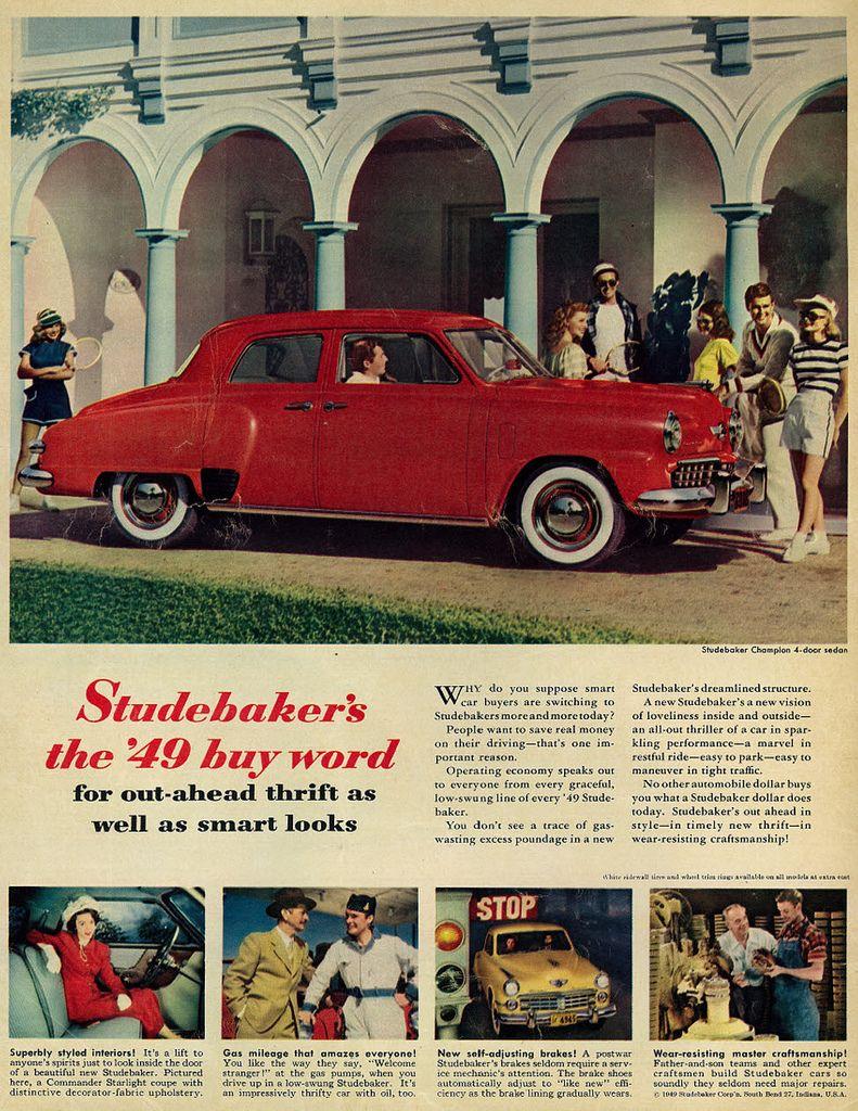 1949 Vintage Car Ad, Studebaker Champion 4-Door Sedan   Pinterest ...