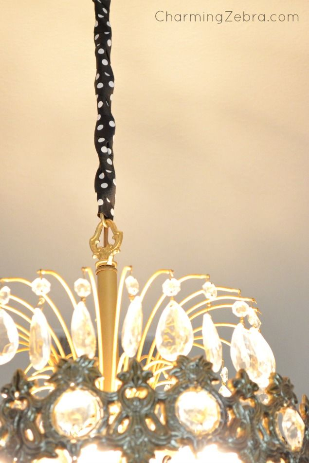An Easy Way To Dress Up That Plain Chandelier Chain Use Ribbon CharmingZebra