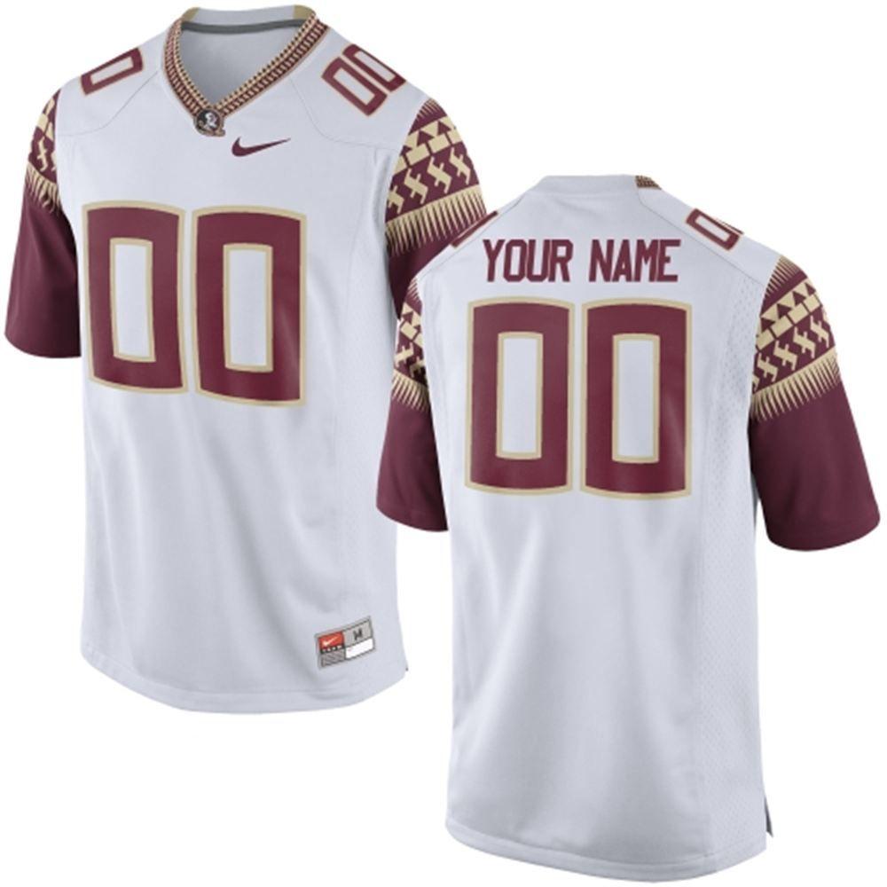 Mens Florida State Seminoles Nike White Custom Replica Football Jersey Florida State Seminoles Seminole Florida State