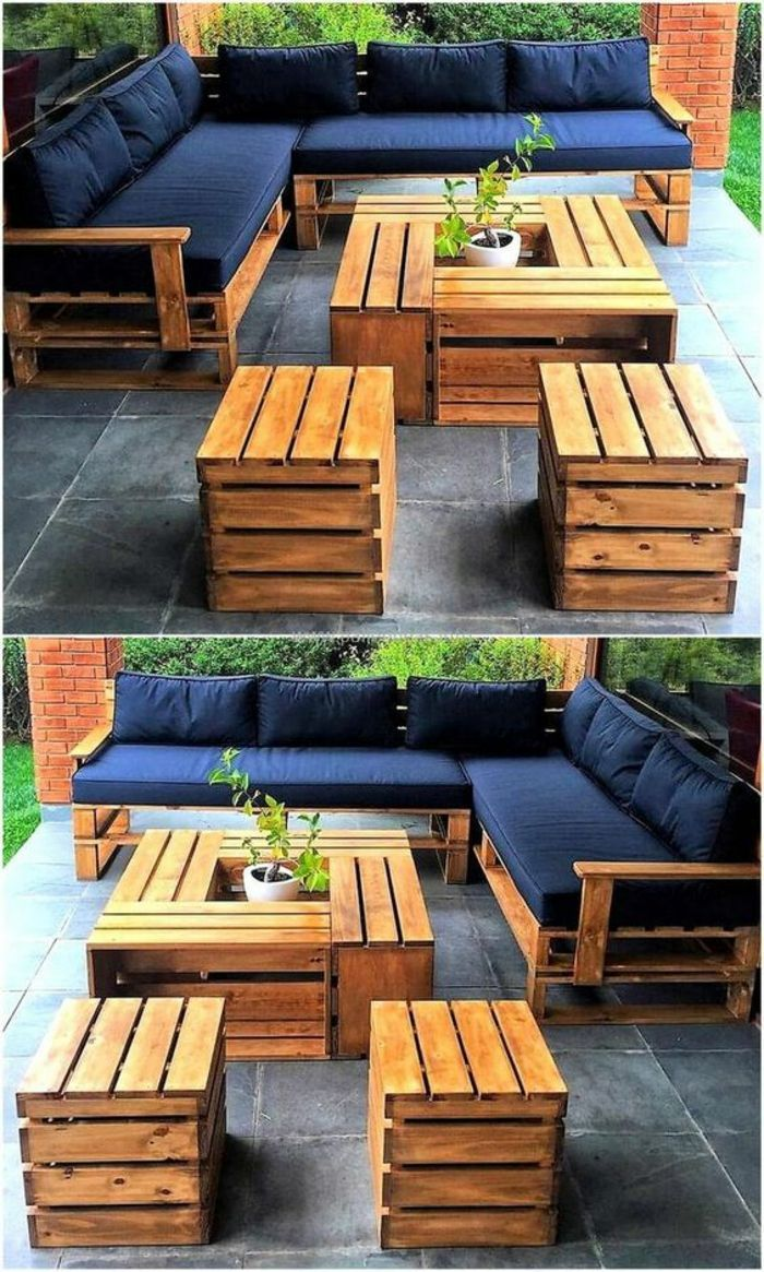 meubles de jardin en palettes, canapé en palette, fauteuil ...