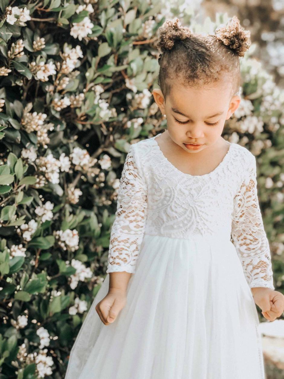 Girls swan white long sleeve lace back dress in 2020