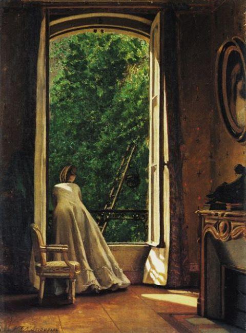 The Window - 1873   Vito D'Ancona, Italian, 1825-1884