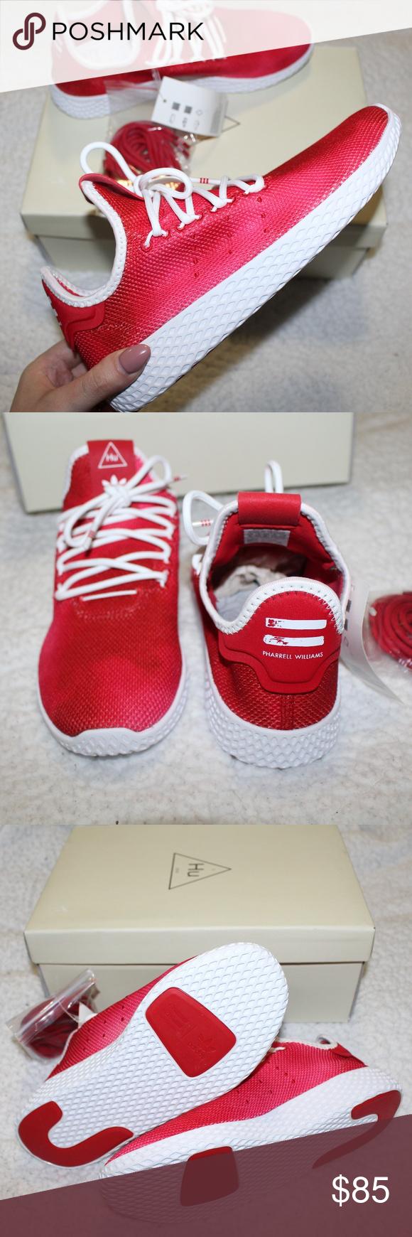 61fbe888ebaa7 BNIB adidas x Pharrell Tennis HU Shoes Youth adidas x Pharrell Williams  Scarlet Tennis HU Sneakers