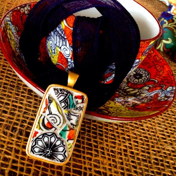 Lucid Dreaming - Mosaic Necklace, Mosaic Pendant, Silk Ribbon Necklace, Antique Ashworth China, Bandana Ware - SHIPS FREE in Continental USA