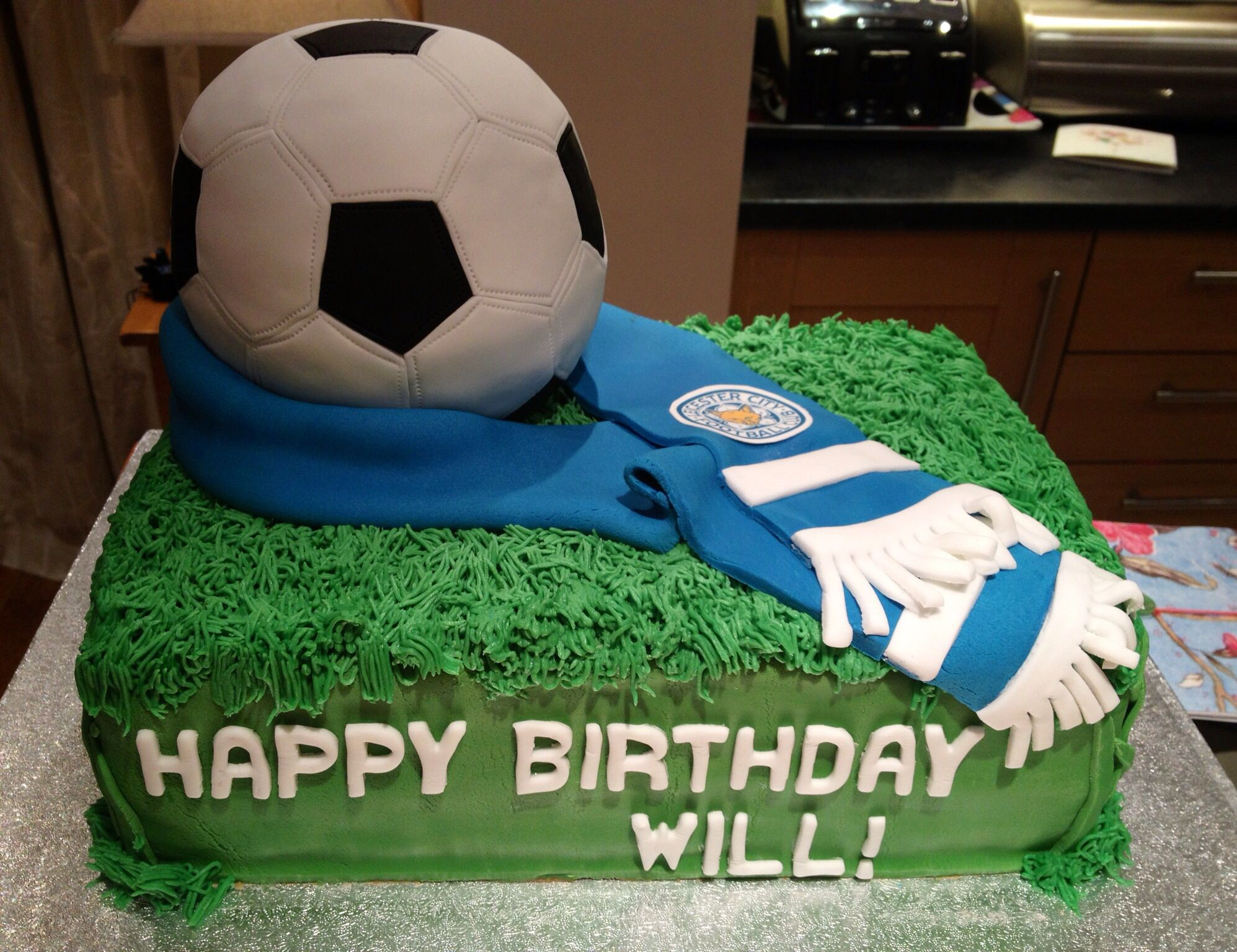 Football ball cake Leicester City by Fondant Fancy Big Cakes