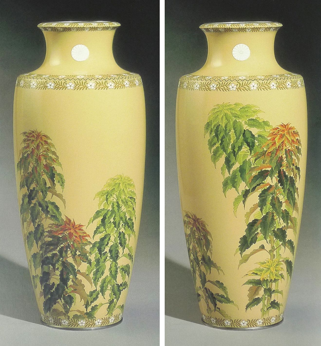 Pair of Imperial presentation cloisonne vases, worked in silver wires, with silver rims and feet. Height 44cm. Made by the Ando Workshop.