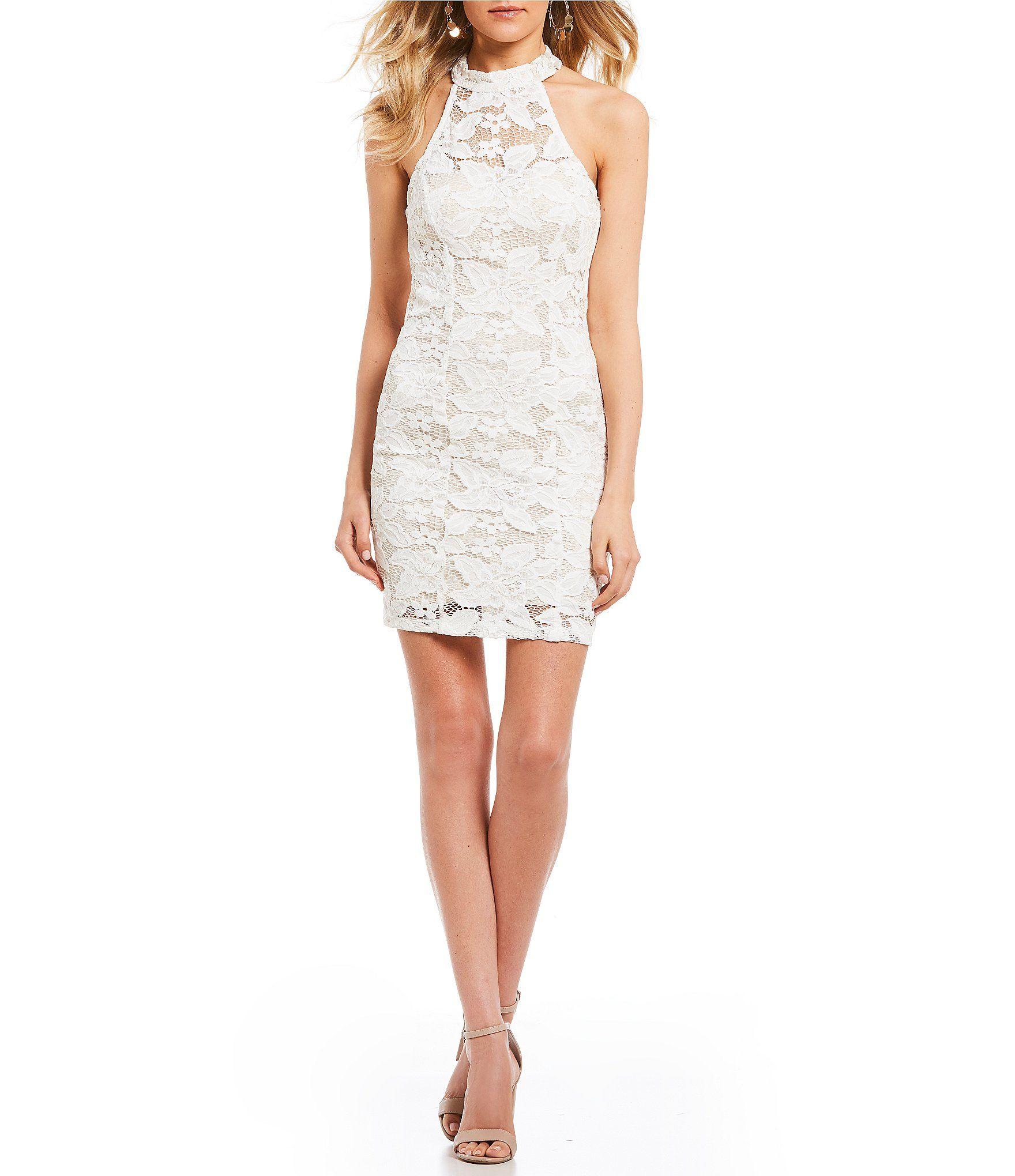 Xtraordinary mock neck lace sheath dress homecoming dress