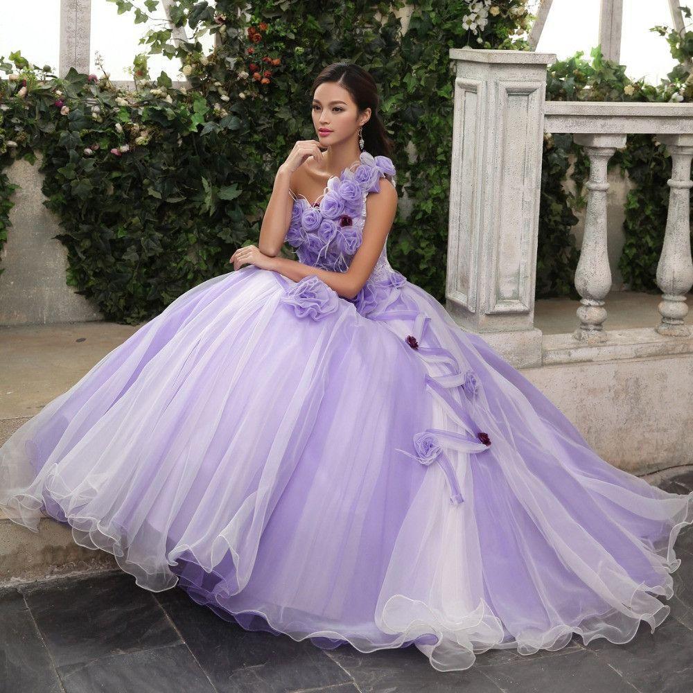 Celtic Wedding Dresses White Pale Blue Medieval Bridal: Light Purple Floral Ball Gown Long Medieval Dress