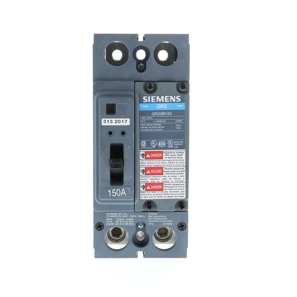 150 Amp Double Pole Type Qr Circuit Breaker Siemens Inrush Current Circuit