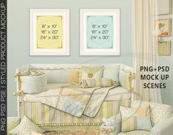 Kids Room Interior #8 Set of White Portrait & Landscape Matted Frames, Nursery Baby Crib, 8x10 16x20 24x30 Print Display Mockup, PNG PSD PSE