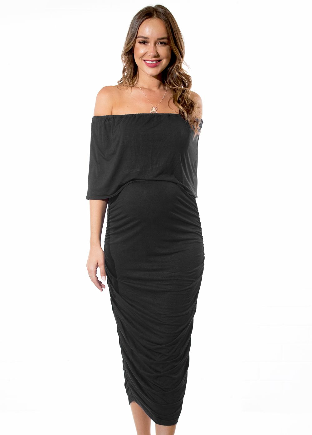 2c77561cd800c Queen Bee Kaia Ruched Off Shoulder Maternity Nursing Dress in Black by  Floressa