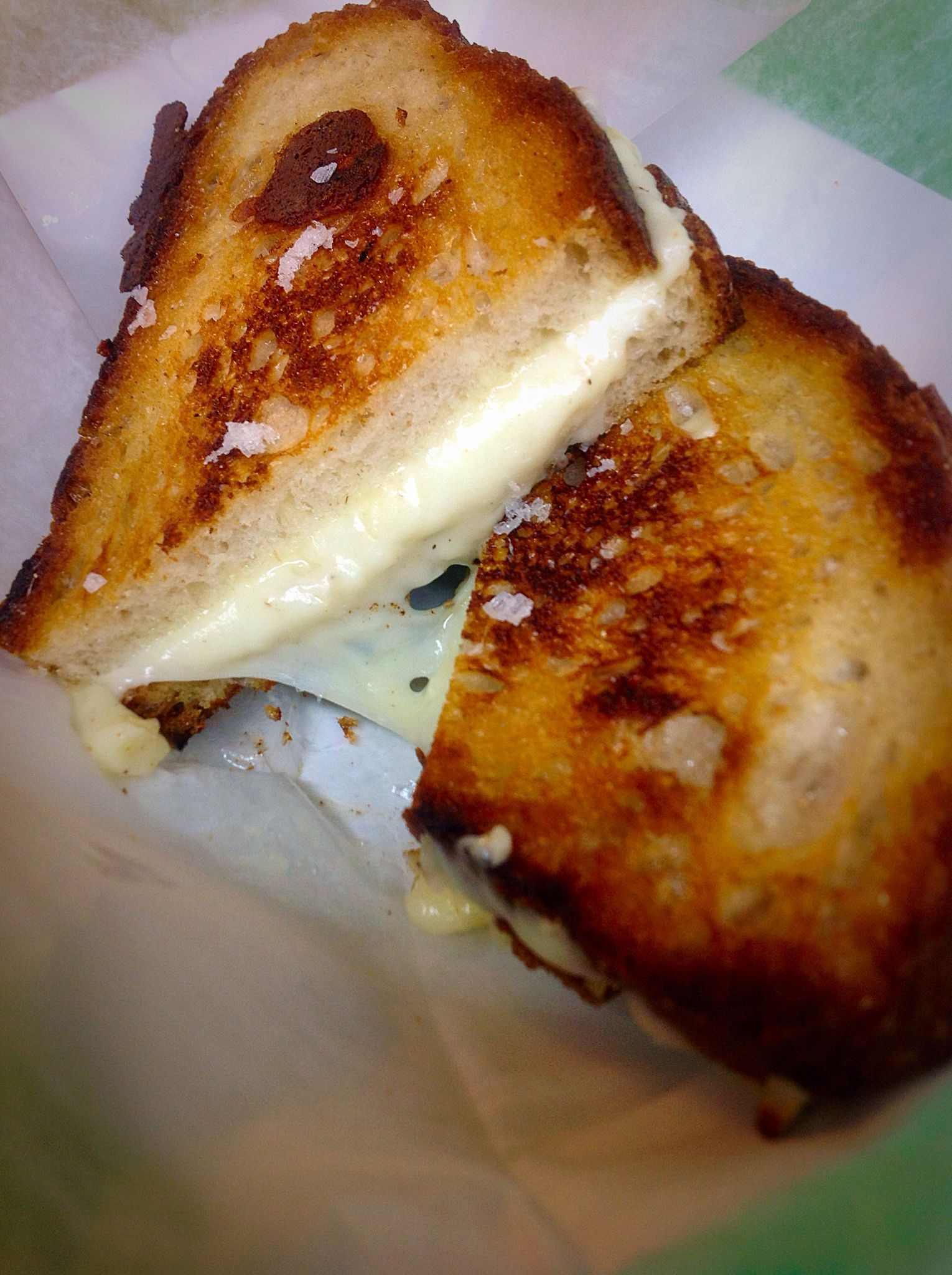We finish all our Grilled Cheese with Maldon Sea Salt.