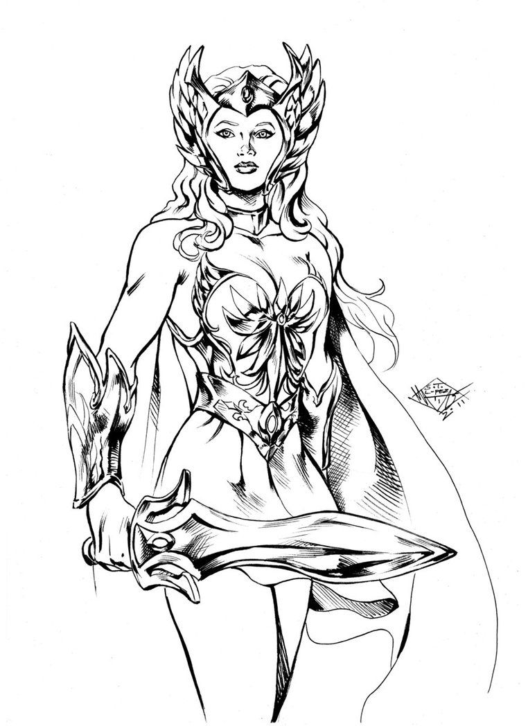 She-Ra Sketch inked by MatiasSoto   Lineart Hero: Sword & Sorcery in ...