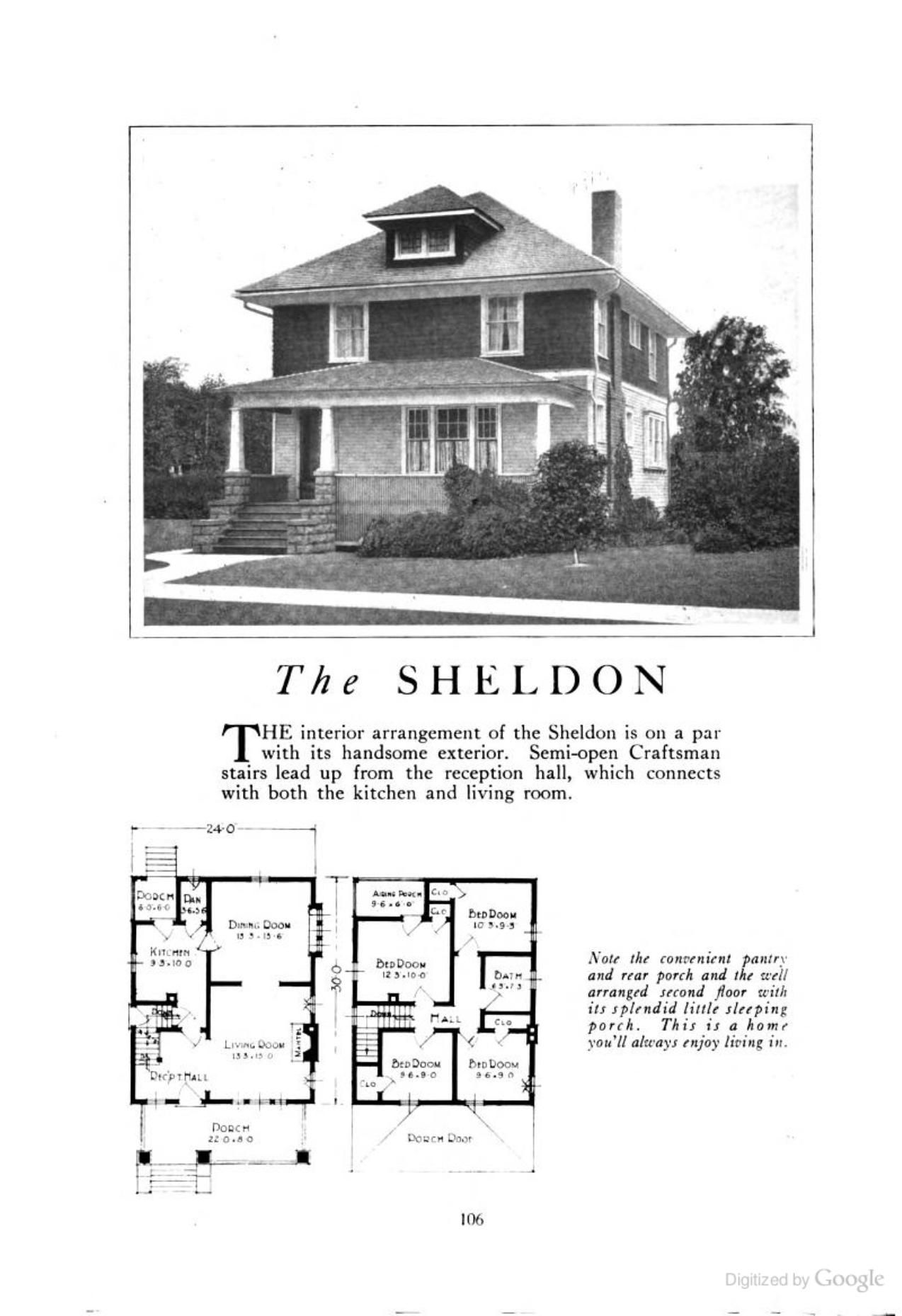 Four Squar House Design Of 1900s: The Sheldon (an American Foursquare Kit House/house Plan