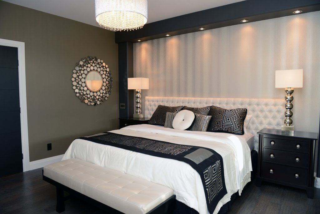 Master Bedroom Features Accent Wallpaper Highlighted With Recessed