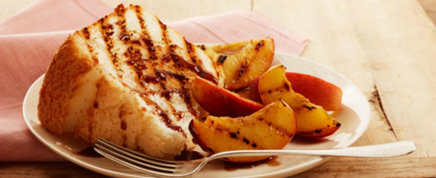 Grilled Peaches and Angel Food Cake With Red-Wine Sauce recommend