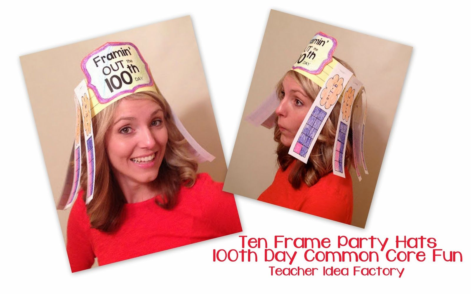 Party Hats For The 100th Day Using Ten Frames And