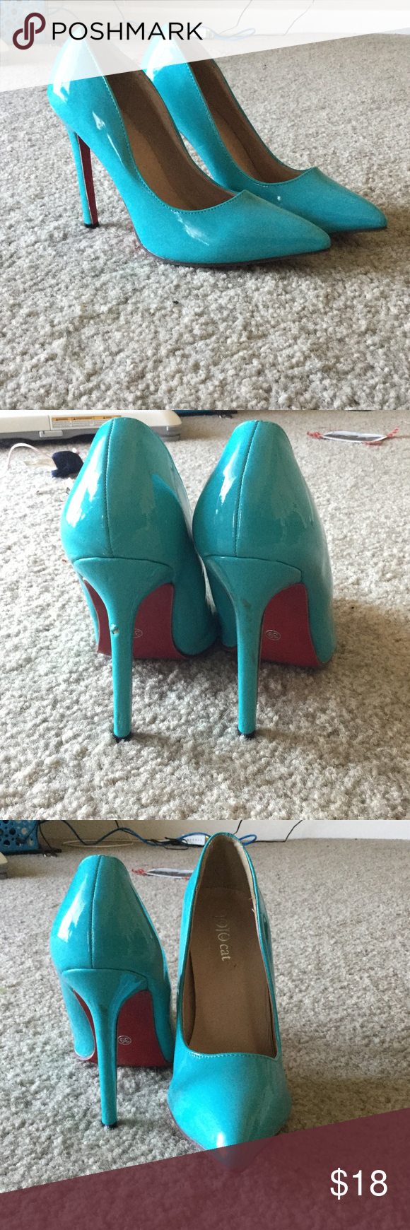 Light Blue Jojo Cat Heels With Red Soles Cat Shoes Red Sole Clothes Design