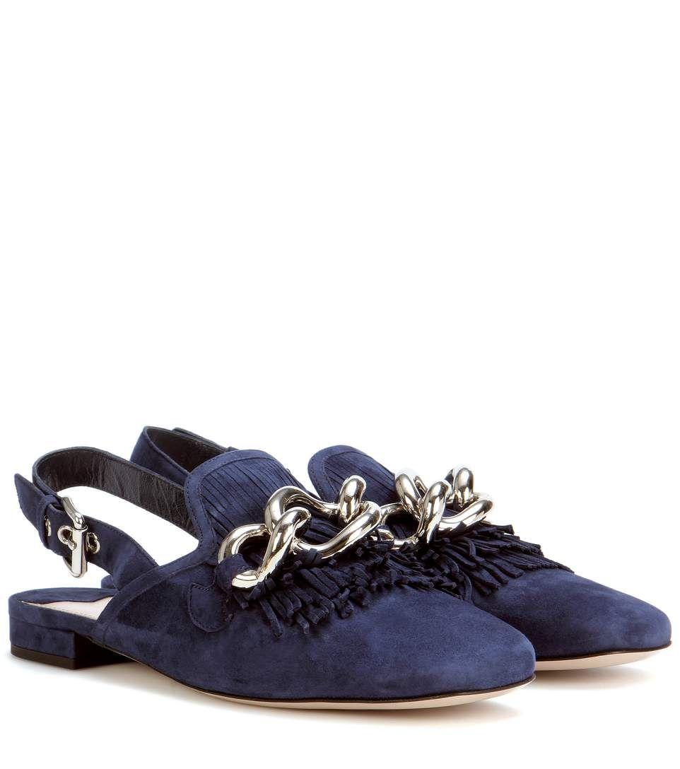 7b3bfb90510 MIU MIU Slingback Loafer With Fringe.  miumiu  shoes  flats