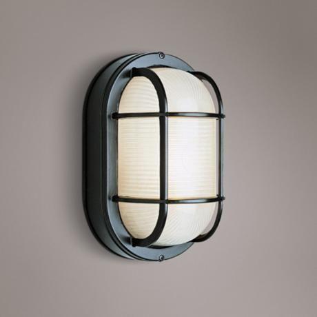 Bulkhead 8 1 2 High Black Oval Grid Outdoor Wall Light K6129 Lamps Plus Wall Lights Outdoor Wall Lighting Outdoor Walls
