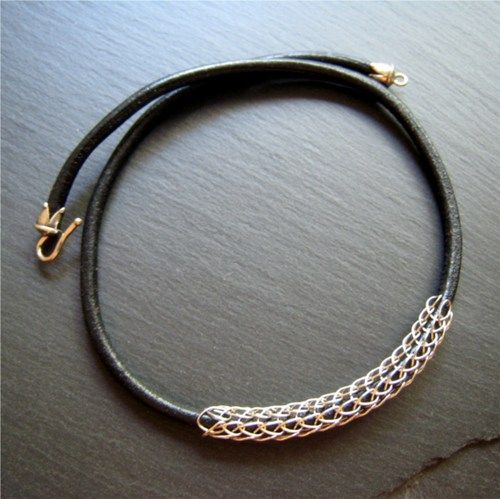 Thick Leather Cord Amp Sterling Viking Knit Unisex Necklace