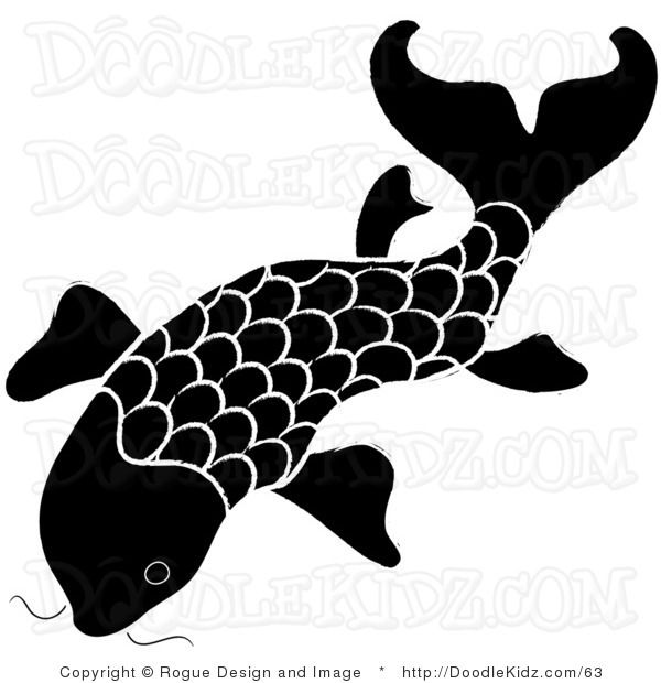 Clip art illustration of a black and white koi fish design for Black and white coy fish