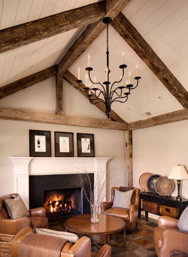 Beams Not Too High Still Have Quot Original Sized Fireplace Doesn T Go All The Way Up To The