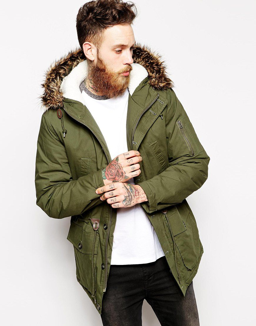 Images of Olive Green Parka Men - Reikian