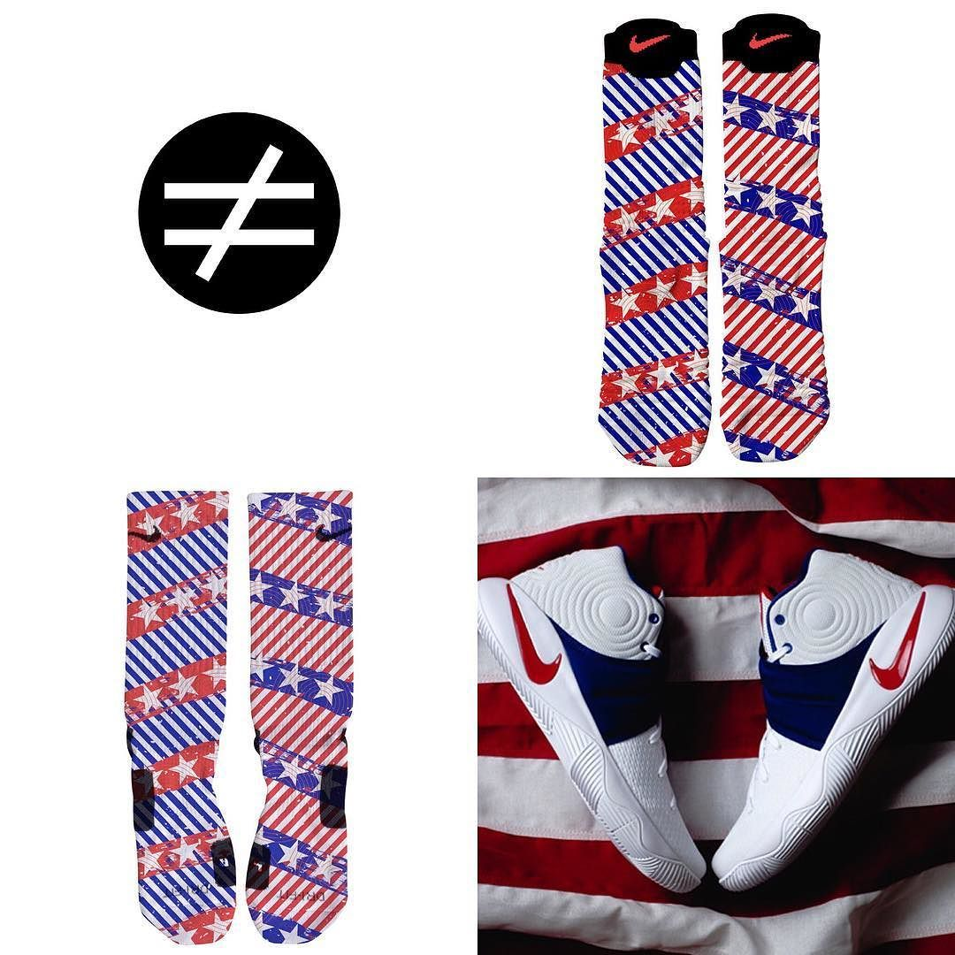 Kyrie 2 July 4 (USA) Custom Nike Elites and Elite Versatility Socks ONLY AT  SNEAKERWORK.COM 8cf5a0ba8