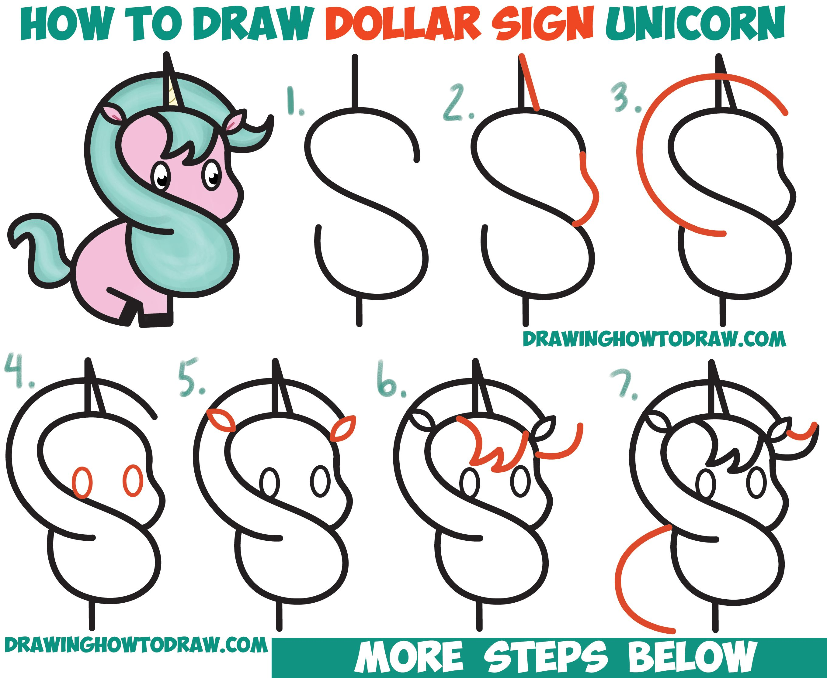 how to draw a cute cartoon unicorn kawaii from a dollar sign