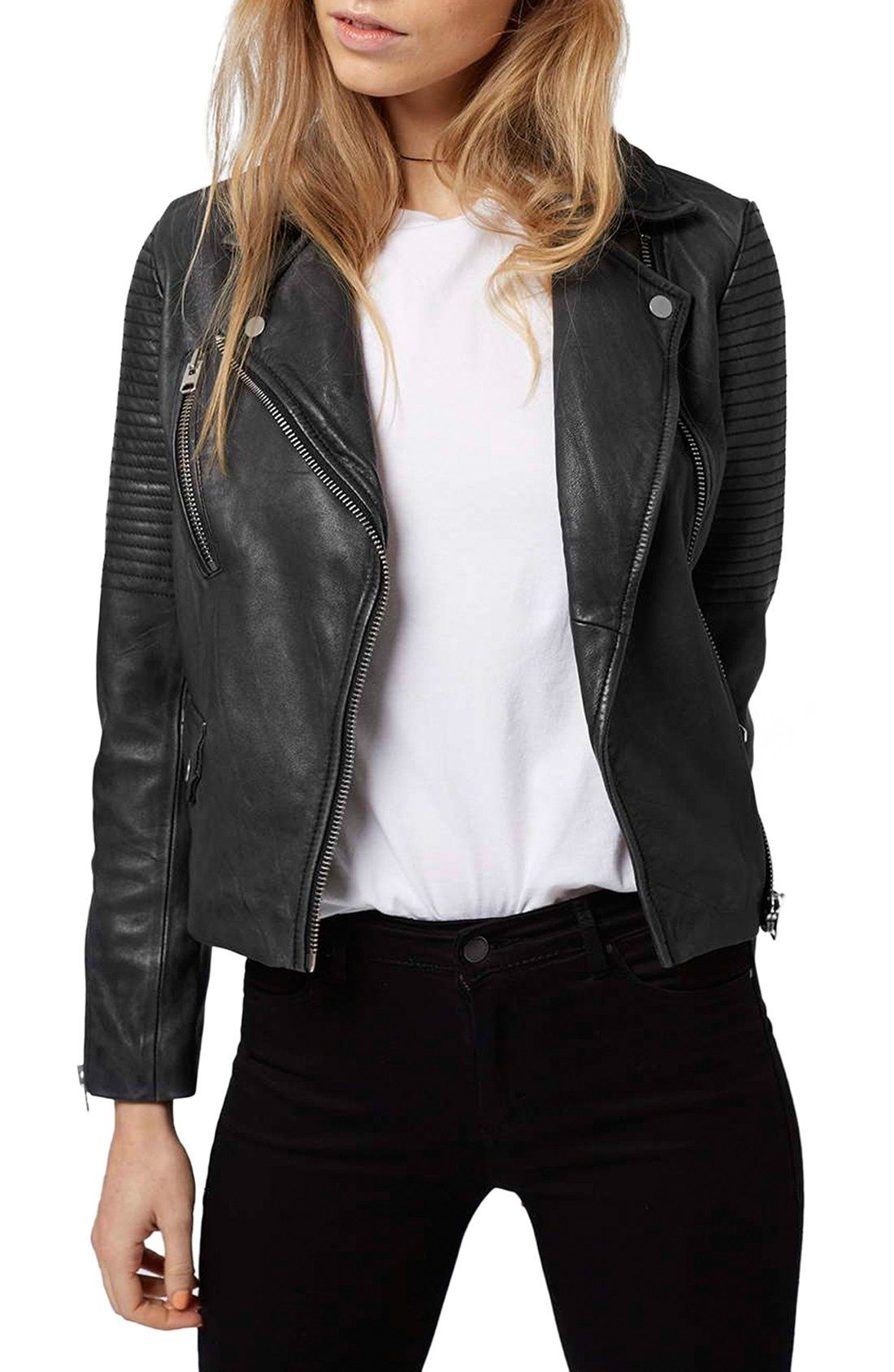 8979860e1 Topshop 'Orbit' Leather Moto Jacket available at #Nordstrom | Make ...