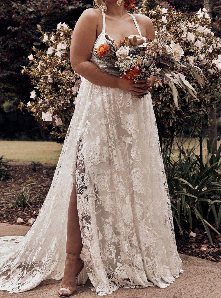 Lace Spaghetti Straps Cross Back Plus Size Backless Beach Wedding Dress Ow329 Plus Wedding Dresses Beach Wedding Dresses Backless Wedding Dresses With Straps,Princess Wedding Dresses Plus Size