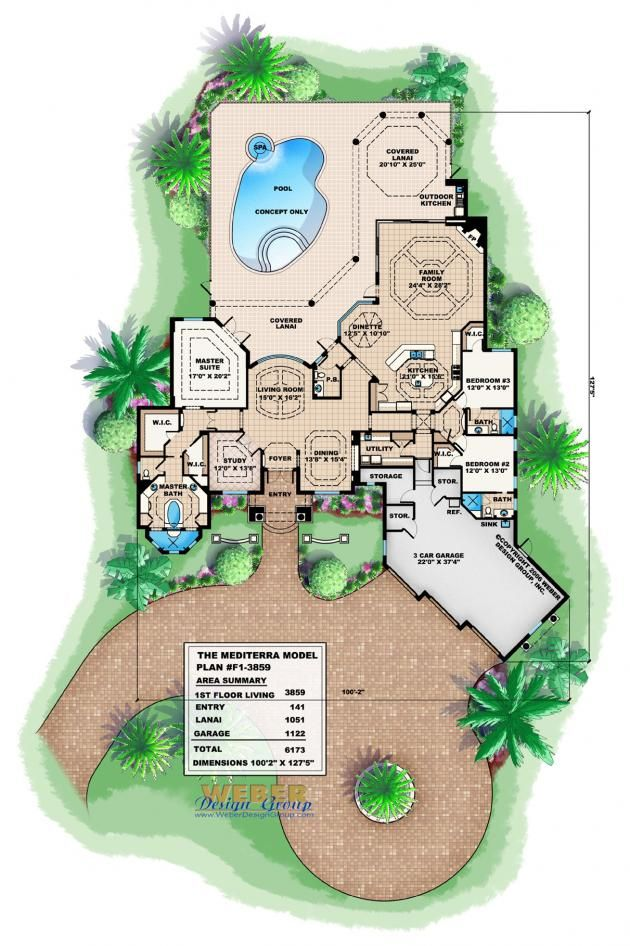 Mediterranean House Plan Waterfront Home Floor Plan With Pool