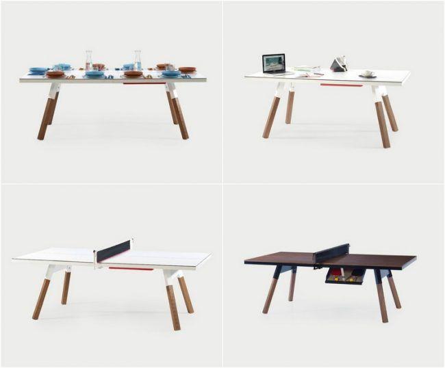 Ein Esstisch der gleichzeitig einen Arbeitstisch und Tischtennisplatte ist  Garten  Terrasse