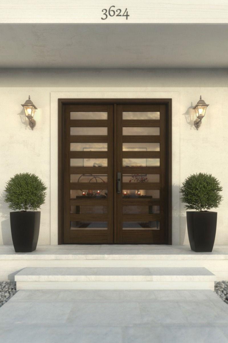 Modern Slimlite Glass Shaker Mahogany Exterior or Interior Double Door