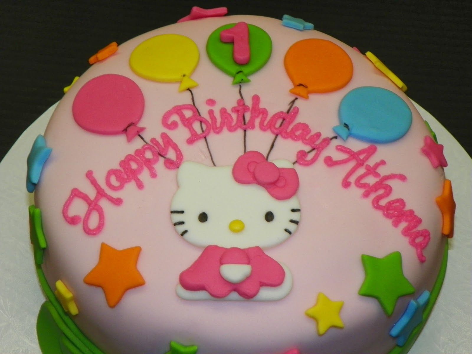 Cool Hello Kitty First Birthday Cake With Images First Birthday Funny Birthday Cards Online Inifodamsfinfo