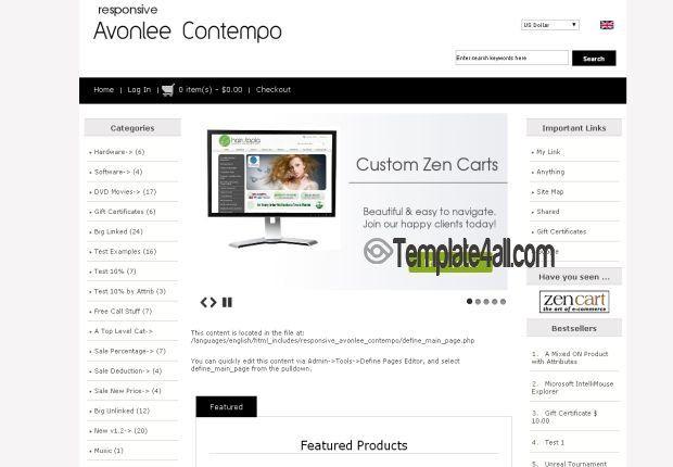 Clean Responsive Zen Cart Template Templates Free Website Themes Zen