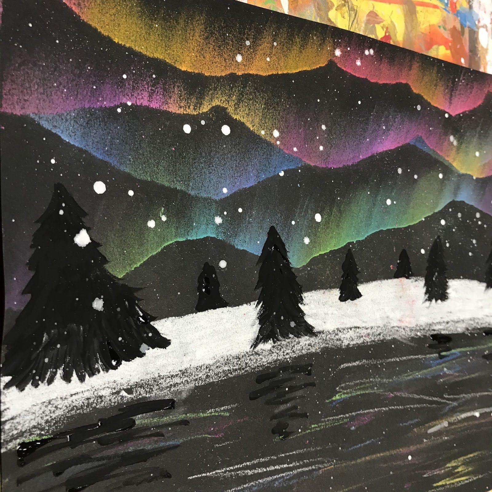 4th grade Aurora Borealis landscapes