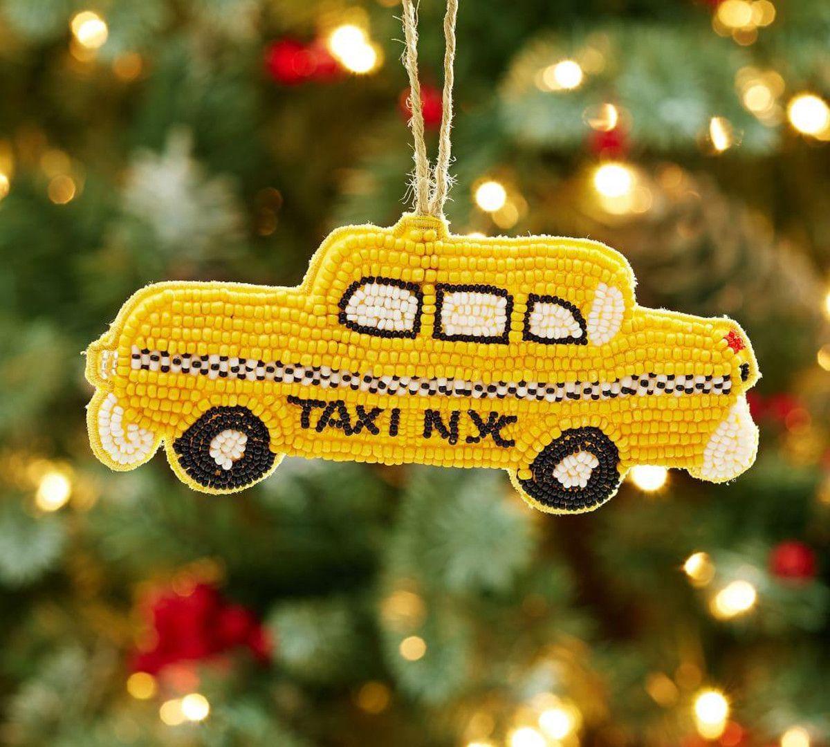 Beaded taxi ornament christmas decorations pinterest ornament