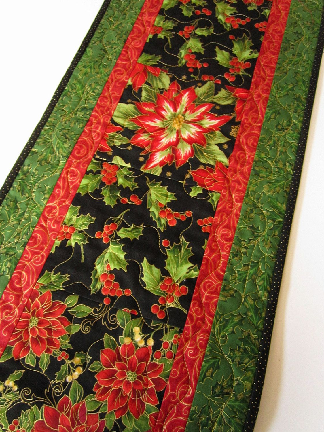 Christmas Poinsettia Handmade Table Runner Quilted Quilt