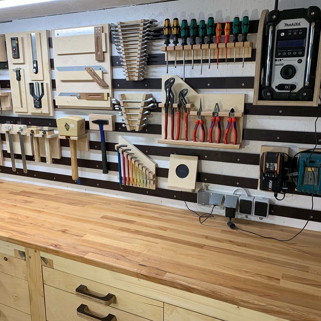 """Martin Bockner on Instagram: """"Tools should be treated like a woman. 😊 My first French cleat wall is populated. Go on..…"""