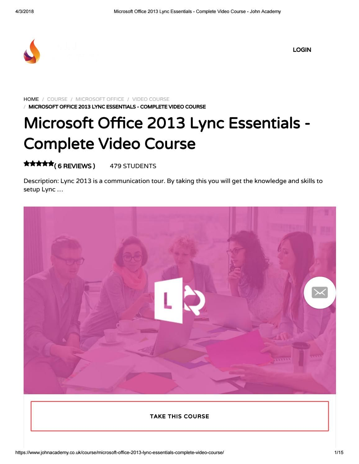 Microsoft office 2013 lync essentials complete video course
