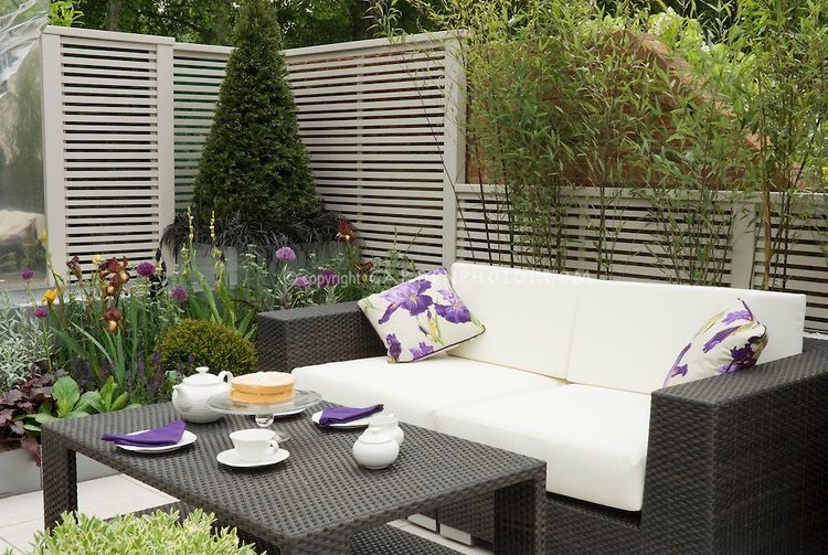 Modern Sophisticated Upscale Patio With Black And White Color Theme, Fence,  Evergreens, Black Leaved Plants, Tea Service On Table, Sofa Couch Lounge  For A ...