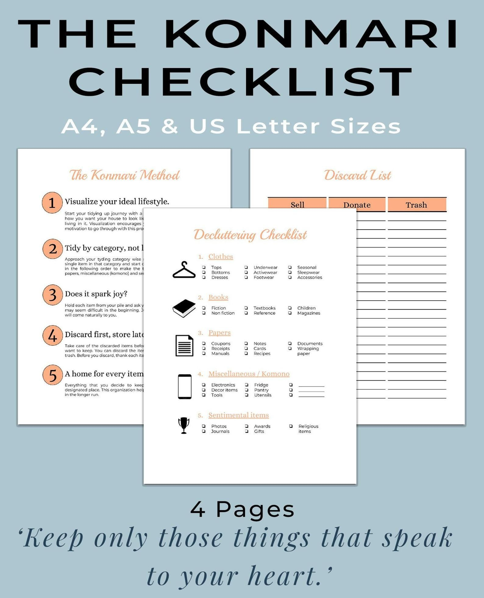 Konmari Method Printable Workbook