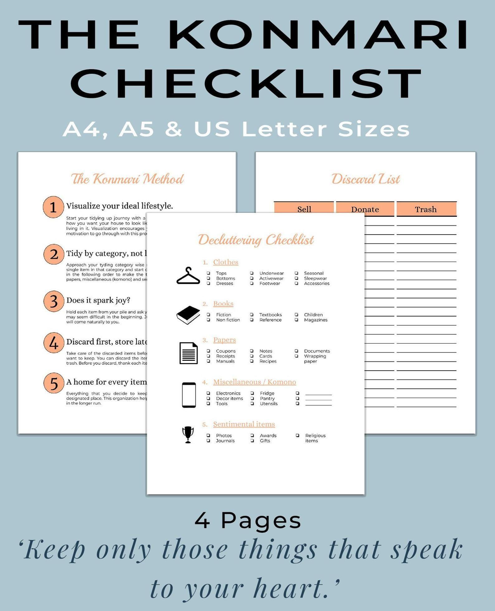 Konmari Method Printable Workbook