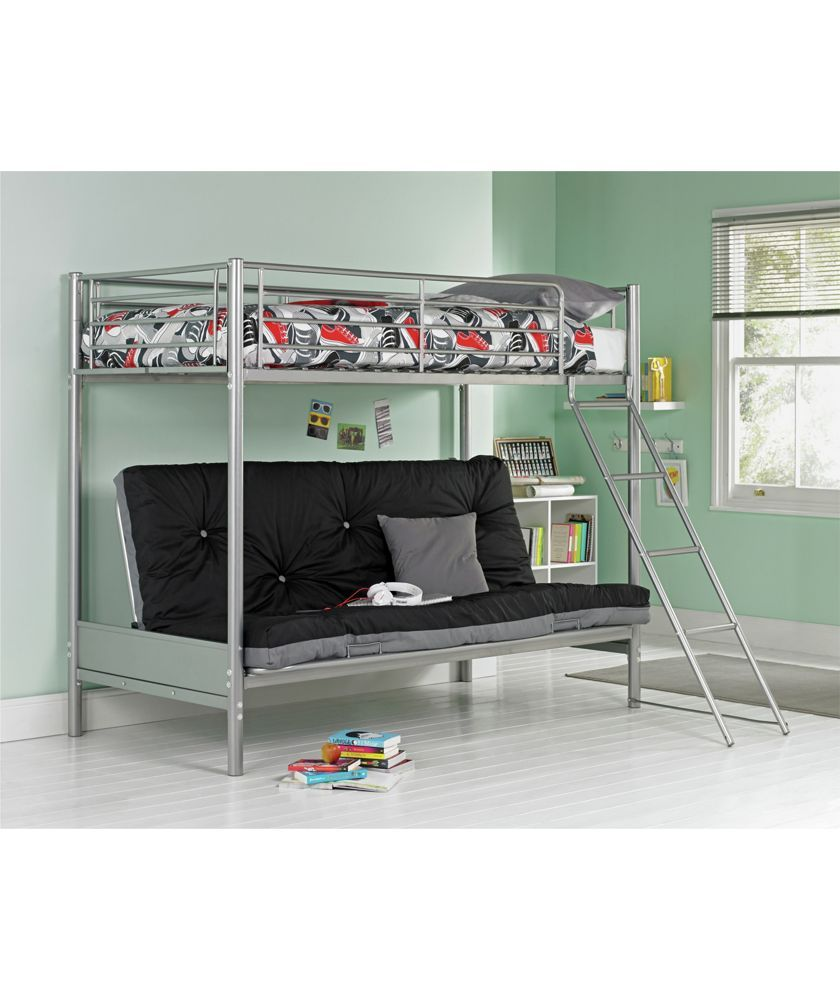 Home Metal Bunk Bed Black Futon Kids Mattress Tiny