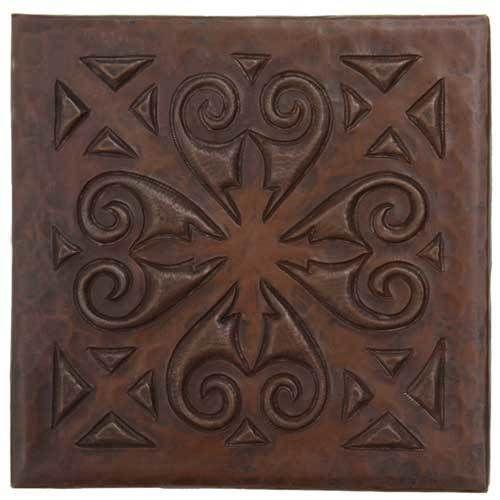 Superb Copper Tile | Scroll Medallion Design | Copper Sinks Direct