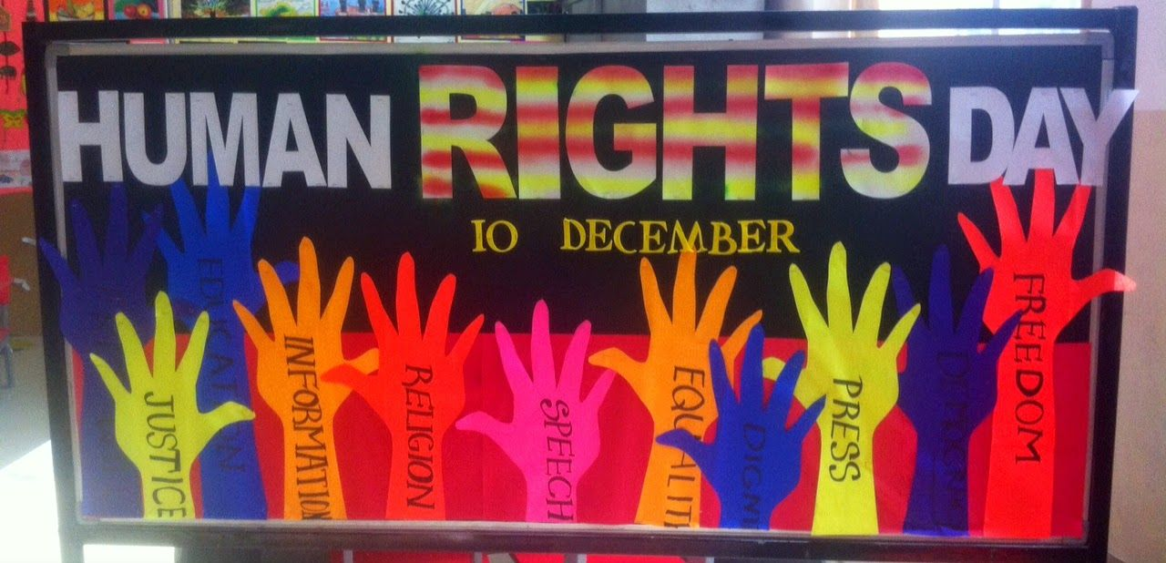 Art Craft Ideas And Bulletin Boards For Elementary Schools Human Rights Day Human Rights Day School Board Decoration Human Rights